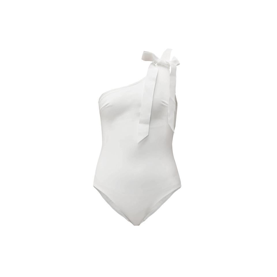 """<p>This one-shoulder maillot is bridal perfection, complete with a bow on top.</p> <p><strong>Buy now:</strong> Zimmermann swimsuit, $340, <a href=""""https://www.matchesfashion.com/us/products/1274850"""">matchesfashion.com</a>.</p>"""
