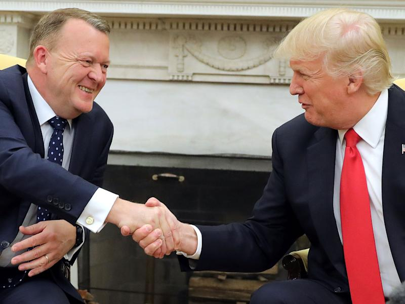 Donald Trump shakes hands with Denmark's Prime Minister Lars Lokke Rasmussen: Reuters