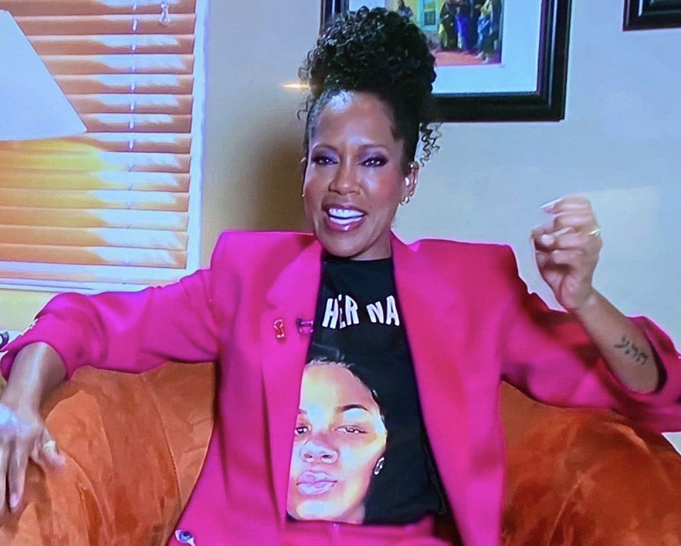 "<p>During the livestream of the E! red carpet and the show, however, she gave a quietly powerful message by sporting a Breonna Taylor t-shirt emblazoned with ""SAY HER NAME"" under a brilliant pink suit, looking chic, cool, and social justice-oriented all at once. <br></p>"