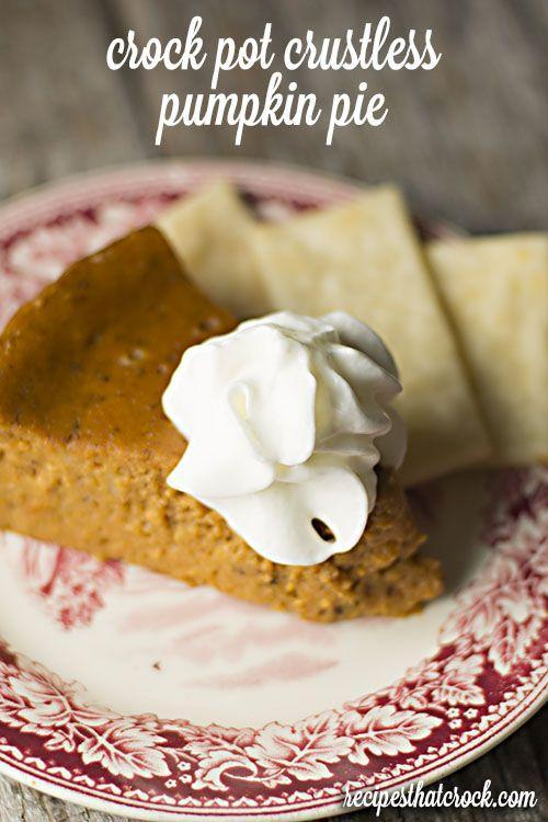 """<p>This pumpkin pie is so good you won't even realize there's no crust on it.</p><p><strong>Get the recipe at <a href=""""http://www.recipesthatcrock.com/crock-pot-crustless-pumpkin-pie/#_a5y_p=2765975"""" rel=""""nofollow noopener"""" target=""""_blank"""" data-ylk=""""slk:Recipes That Crock"""" class=""""link rapid-noclick-resp"""">Recipes That Crock</a>.</strong> </p>"""