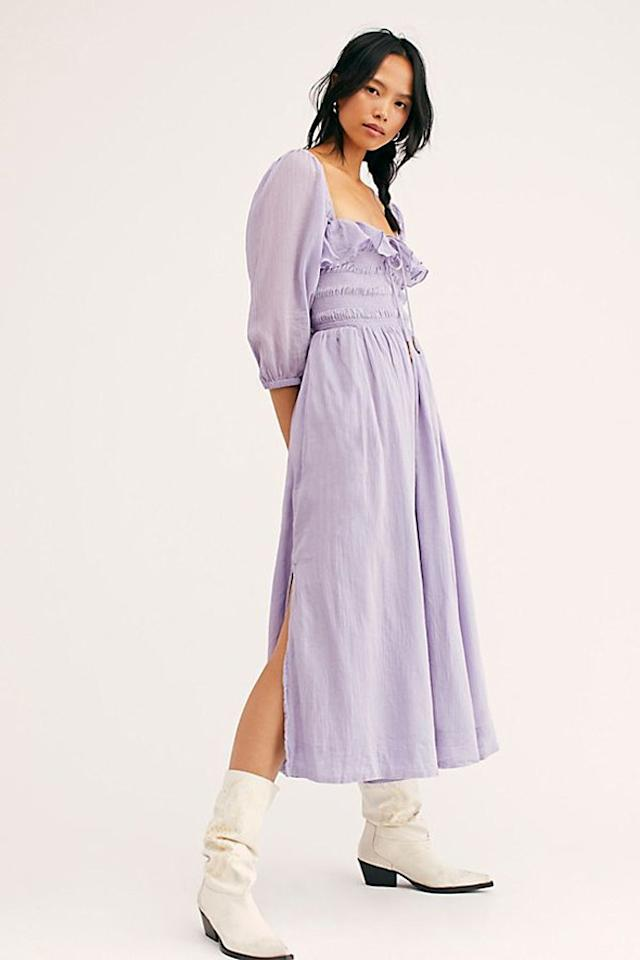 """Imagine how pretty this dress would look swooshing and twirling across the dance floor... $118, Free People. <a href=""""https://www.freepeople.com/shop/oasis-midi-dress/?category=new-dresses&color=056&quantity=1&type=REGULAR"""">Get it now!</a>"""
