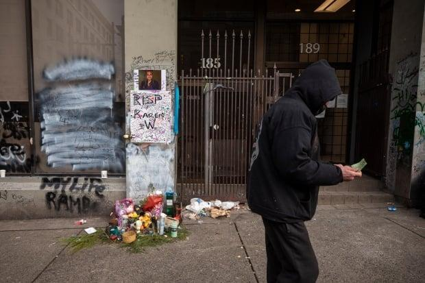 A memorial in Vancouver's Downtown Eastside is pictured on Feb. 11.