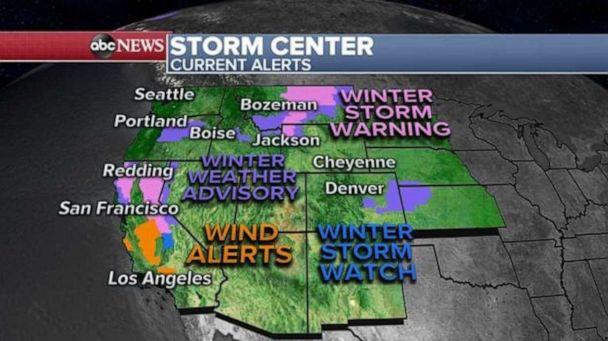 PHOTO: As these storms move east, 11 states from Washington to Arizona and east to Missouri are under flood and snow alerts. (ABC News)