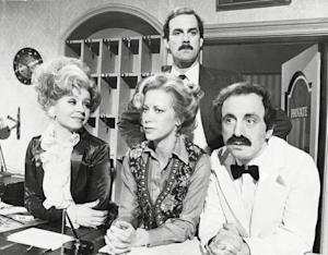 Mandatory Credit: Photo by Bryn Colton/Daily Mail/REX/Shutterstock (889199a) The Cast Of The Fawlty Towers Series A Slapstick Creation Set In A South Coast Hotel. From Left To Right: Prunella Scales Connie Booth John Cleese And Andrew Sachs. The Cast Of The Fawlty Towers Series A Slapstick Creation Set In A South Coast Hotel. From Left To Right: Prunella Scales Connie Booth John Cleese And Andrew Sachs.