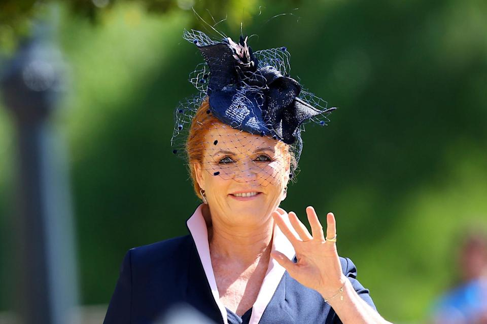 The Duchess of York waved to the crowds at Windsor. (Photo: Gareth Fuller — WPA Pool/Getty Images)