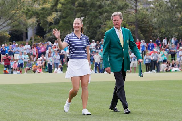 Jennifer Kupcho and Chairman of Augusta National Golf Club and the Masters Tournament Fred Ridley walk to the trophy ceremony after the Augusta National Women's Amateur. (Getty Images)