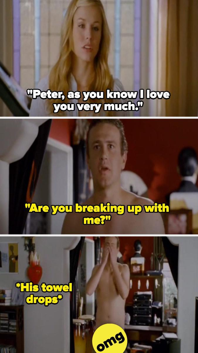 Sarah tells Peter she loves him and Peter realizes she's breaking up with him and drops his towel