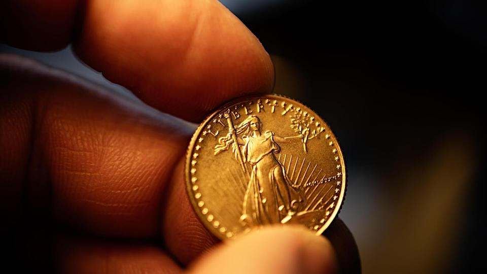 Gold coins and Gold watchband.