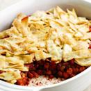 <p>This Southwestern-inspired potpie is full of spicy beans, hominy and butternut squash. Tortillas and cheese stand in for the more traditional pastry topping. Serve with a salad of romaine lettuce, avocado and orange segments tossed with a simple vinaigrette.</p>