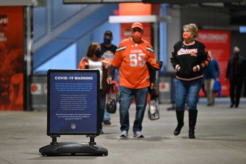 Signage inside FirstEnergy Stadium reminds fans of the dangers of Covid-19 before an NFL game between the Cleveland Browns and the Cincinnati Bengals on September 17, 2020 in Cleveland, Ohio.
