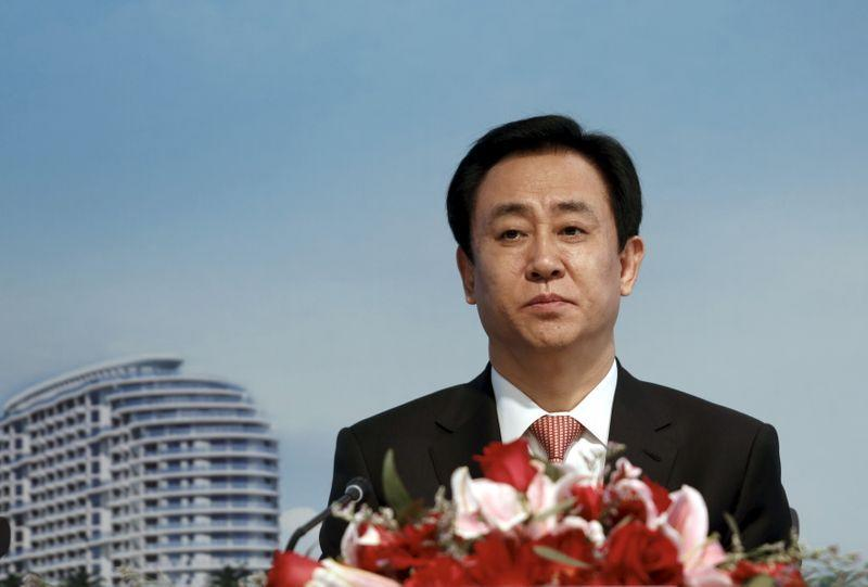 Hui Ka Yan, chairman of Evergrande Real Estate Group Ltd, attends a news conference on annual results in Hong Kong