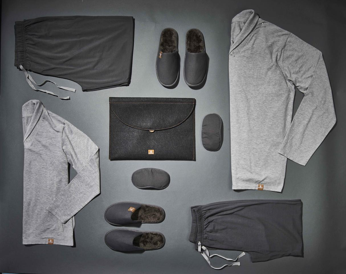 """<p><span>There are pyjamas and then there are…moisturising pyjamas. Emirates have just launched the world's first hydrating sleepwear for an airline, which is offered to passengers flying First Class overnight. The grey loungewear is said to release naturally-moisturising sea kelp as you move around, and """"locks in the moisture"""" for up to ten washes – so you can reuse them once you've landed. [Photo: Emirates]</span> </p>"""