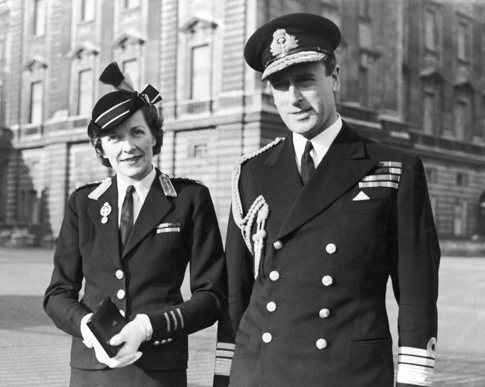 Lord Louis Mountbatten with his wife Edwina at Buckingham Palace for an investiture ceremony. February 1943. (Photo by Daily Mirror/Mirrorpix/Mirrorpix via Getty Images)