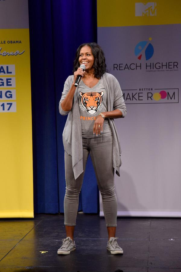 Former first lady Michelle Obama at MTV's 2017 College Signing Day on May 5. (Photo by Bryan Bedder/Getty Images for MTV)