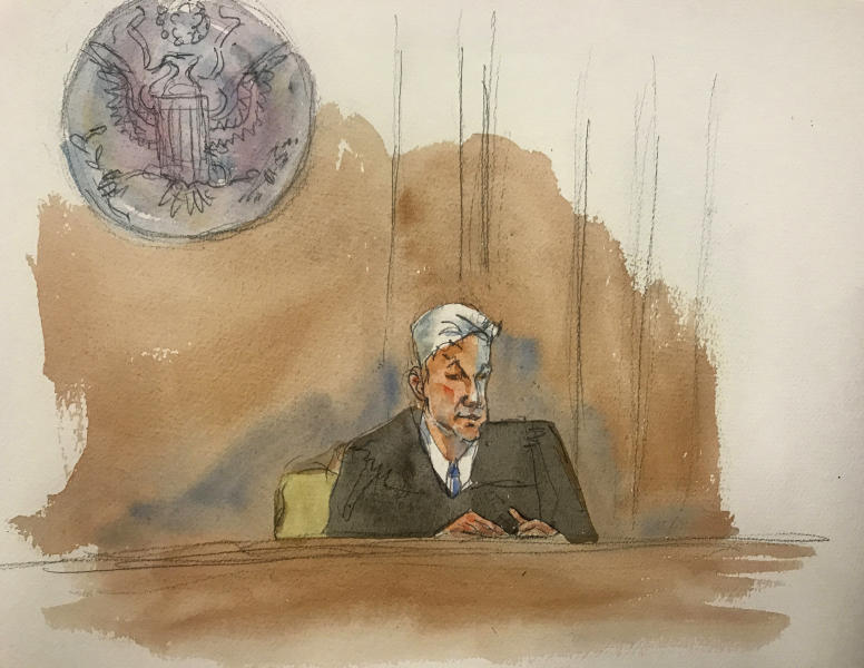 "In this courtroom sketch, Judge Richard M. Berman speaking as he denies Jeffrey Epstein bail during a hearing in federal court, Thursday, July 18, 2019 in New York. Judge Berman denied bail for the jailed financier on sex trafficking charges, saying the danger to the community that would result if the jet-setting defendant was free formed the ""heart of this decision."" (Aggie Kenny via AP)"