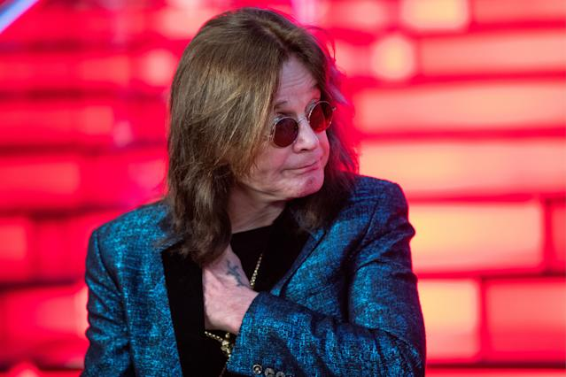 Ozzy Osbourne during a ceremony to sign his personalised star at the Moscow Walk of Fame at the Vegas Crocus City shopping and leisure centre in the town of Krasnogorsk. Sergei Bobylev/TASS (Photo by Sergei Bobylev\TASS via Getty Images)