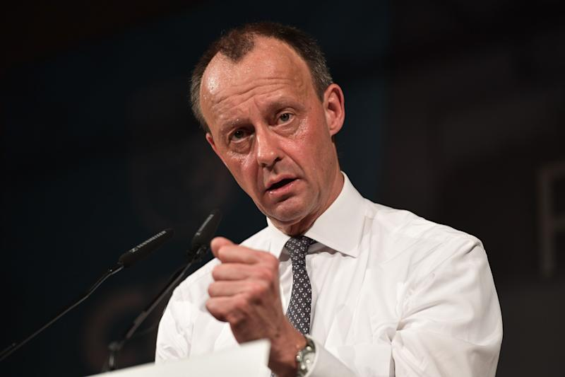 Friedrich Merz, candidate for the Christian Democratic Union (CDU) party leadership, delivers a speech at the political Ash Wednesday meeting of the CDU in Apolda, eastern Germany on February 26, 2020 (Photo by Jens Schlueter / AFP) (Photo by JENS SCHLUETER/AFP via Getty Images)