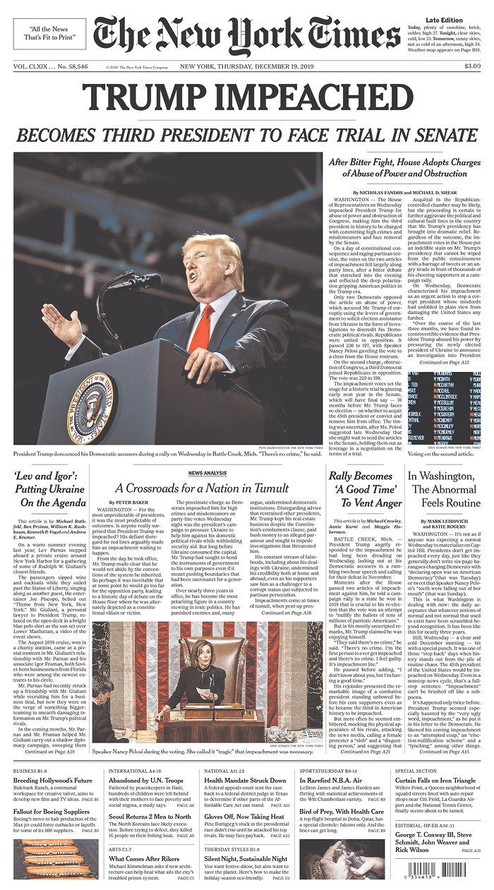 The front page of Thursday's New York Times. (Newseum.org)