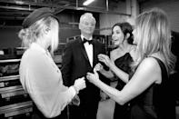 <p>Miley Cyrus, Bill Murray, Courteney Cox and Jennifer Aniston attend the American Film Institute's 46th Life Achievement Award Gala Tribute to George Clooney at Dolby Theatre on June 7, 2018 in Hollywood, California.</p>