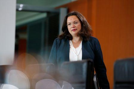 German Labour Minister Andrea Nahles attends the weekly cabinet meeting at the Chancellery in Berlin