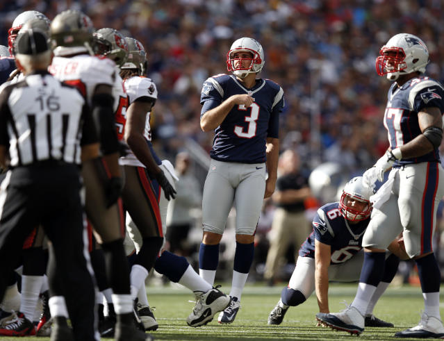 New England Patriots kicker Stephen Gostkowski (3) watches his field goal in the second half of an NFL football game against the Tampa Bay Buccaneers Sunday, Sept. 22, 2013, in Foxborough, Mass. Gostkowski kicked three field goals in the game and the Patriots won 23-3. (AP Photo/Elise Amendola)
