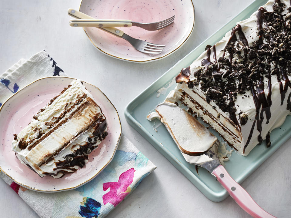 "<p><strong>Recipe: <a href=""https://www.southernliving.com/recipes/ice-cream-sandwich-cake"" rel=""nofollow noopener"" target=""_blank"" data-ylk=""slk:Ice Cream Sandwich Cake"" class=""link rapid-noclick-resp"">Ice Cream Sandwich Cake</a></strong></p> <p>Transform the ice cream sandwiches from your freezer into a showstopping treat.</p>"