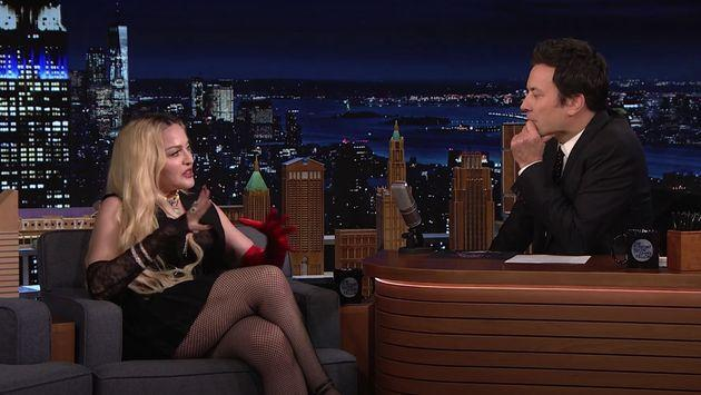Madonna during her appearance on Jimmy Fallon's talk show (Photo: NBC)