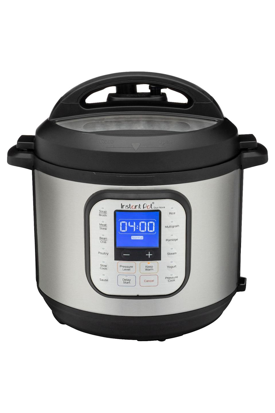 """<p><strong>Instant Pot</strong></p><p>bestbuy.com</p><p><strong>$99.99</strong></p><p><a href=""""https://go.redirectingat.com?id=74968X1596630&url=https%3A%2F%2Fwww.bestbuy.com%2Fsite%2Finstant-pot-duo-nova-6-quart-7-in-1-one-touch-multi-cooker-silver%2F6368023.p%3FskuId%3D6368023&sref=https%3A%2F%2Fwww.elle.com%2Ffashion%2Fg28509176%2Fcozy-gift-guide%2F"""" rel=""""nofollow noopener"""" target=""""_blank"""" data-ylk=""""slk:Shop Now"""" class=""""link rapid-noclick-resp"""">Shop Now</a></p><p>""""I don't really cook (but my bf does) so I couldn't be happier that I nudged him to buy an Instant Pot during last year's Black Friday. I tell people that you won't really get what it's for until you start using it—then you'll want to use it every day. We've made Korean short ribs, carnitas tacos, white bean soup and so much more all in no time at all. Cooking and sitting down for a meal together every night has been such an unexpected source of joy!""""– Katherine Krueger, Digital Features Editor</p>"""