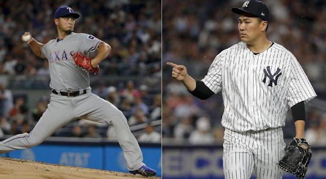 Rangers starter Yu Darvish (left) and Yankees starter Masahiro Tanaka (right) met for the first time in MLB. (AP Photos)