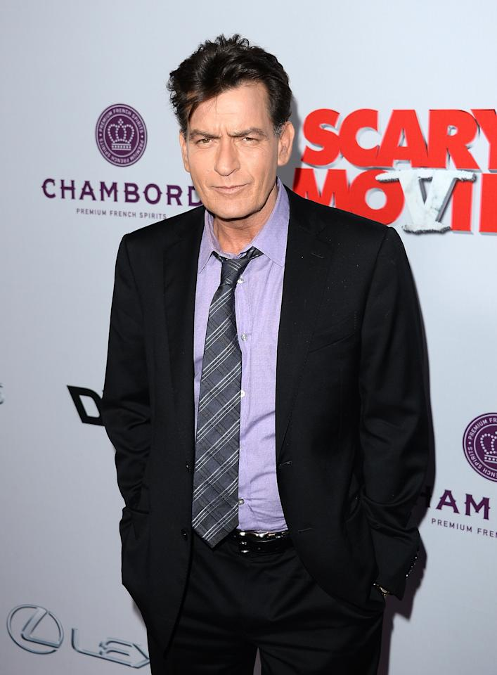 "HOLLYWOOD, CA - APRIL 11:  Actor Charlie Sheen arrives at the Dimension Films' ""Scary Movie 5"" premiere at the ArcLight Cinemas Cinerama Dome on April 11, 2013 in Hollywood, California.  (Photo by Jason Merritt/Getty Images)"