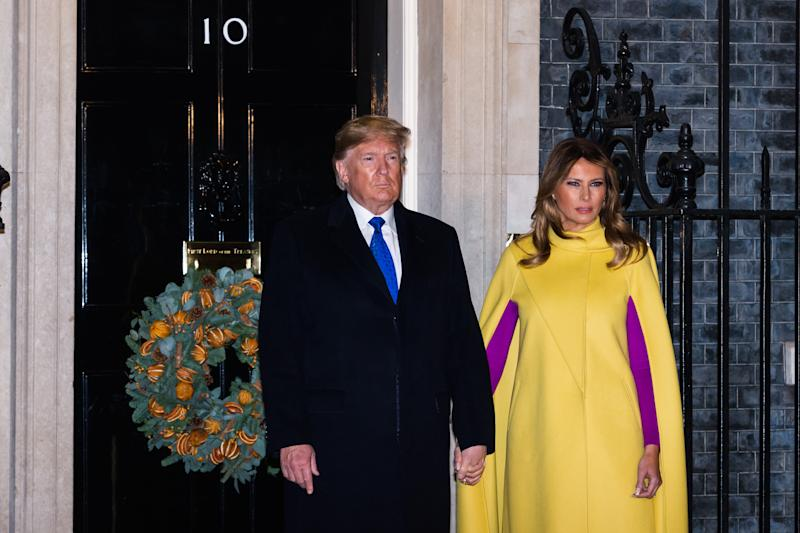 US President Donald Trump and First Lady Melania Trump arrive at 10 Downing Street. Photo: Getty