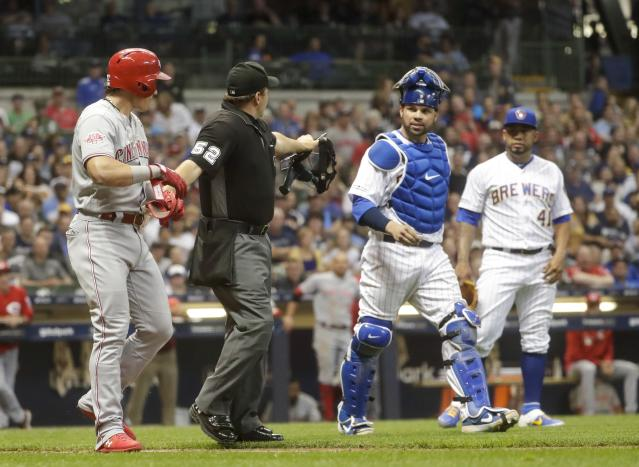 The Reds' Derek Dietrich is under the Brewers' skin after being hit by a record five pitches in two games. (AP Photo/Morry Gash)