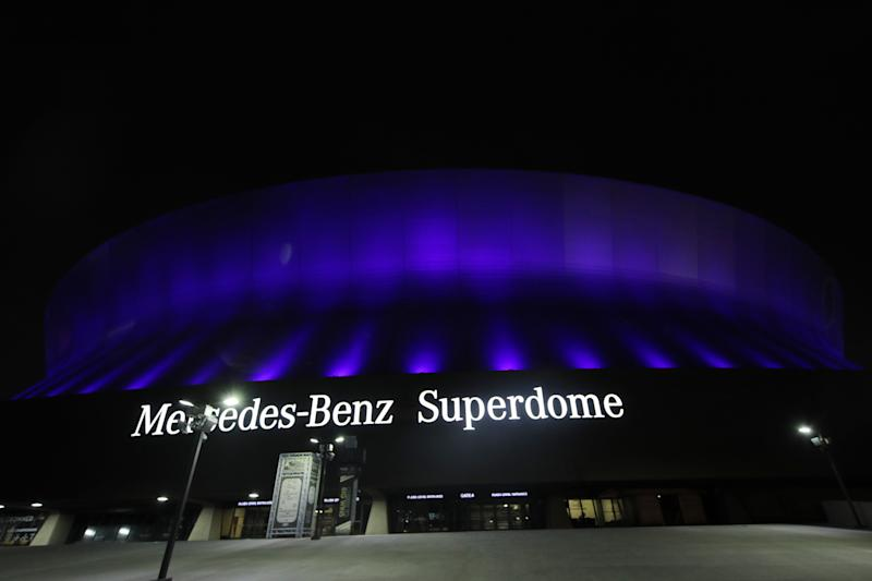 The Mercedes-Benz Superdome is lit up blue on April 09, 2020 in New Orleans, Louisiana. Landmarks and buildings across the nation are displaying blue lights to show support for health care workers and first responders on the front lines of the coronavirus (COVID-19) pandemic. (Photo by Chris Graythen/Getty Images)
