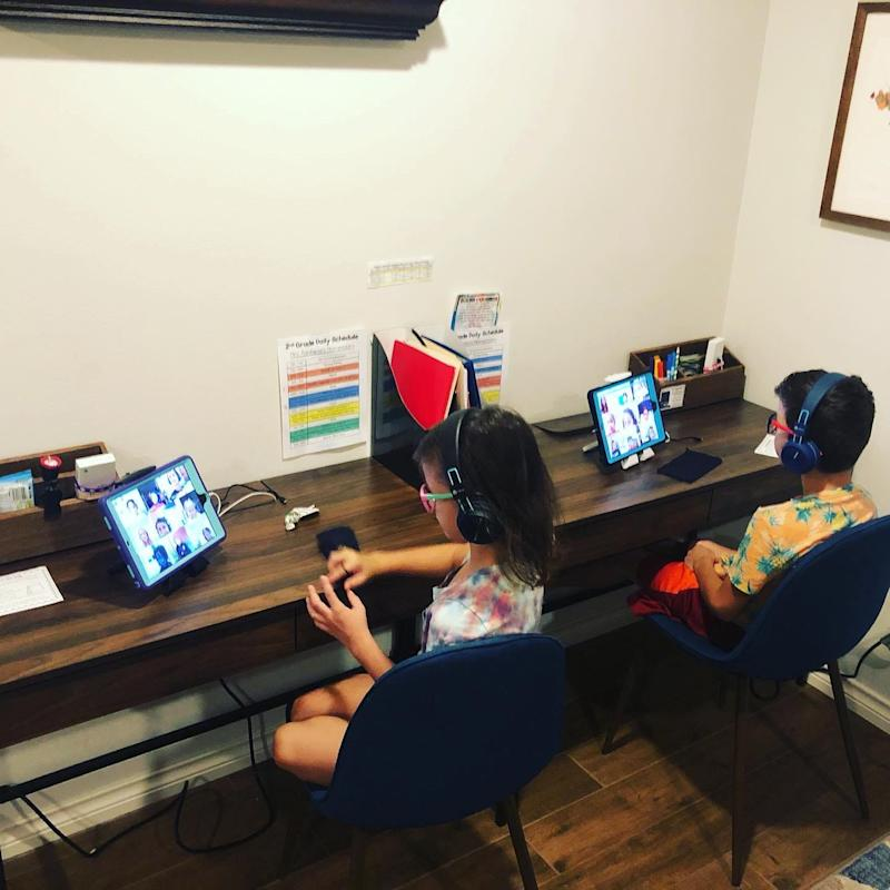 This is the virtual school setup Amanda Sorena set up for her twins.