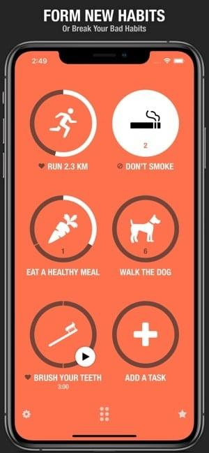 Screenshot of Streaks app with icons for various habits like stop smoking or walk the dog, and text saying 'Form new Habits'