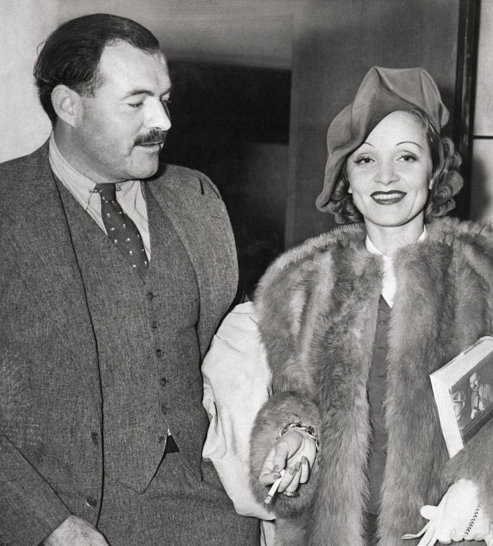<p>Ernest Hemingway and Dietrich return from a holiday together. The pair, who started corresponding with each other when he was 50 and she was 47, remained close until his death in 1961. </p>