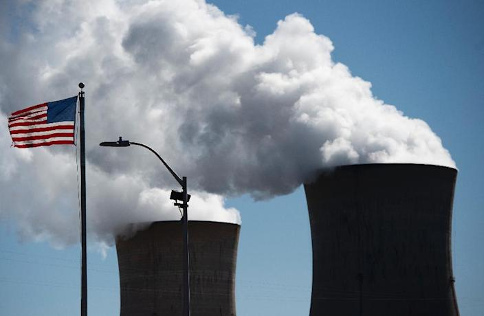 The cooling towers at Three Mile Island nuclear plant (AFP Photo/Andrew CABALLERO-REYNOLDS)