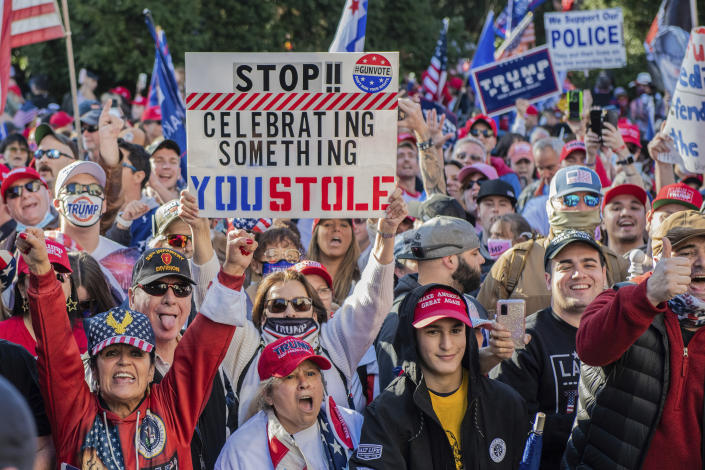 Trump supporters demonstrate outside the Supreme Court during the Million MAGA March on Nov. 14. (Chris Tuite/imageSPACE/MediaPunch /IPX via AP)