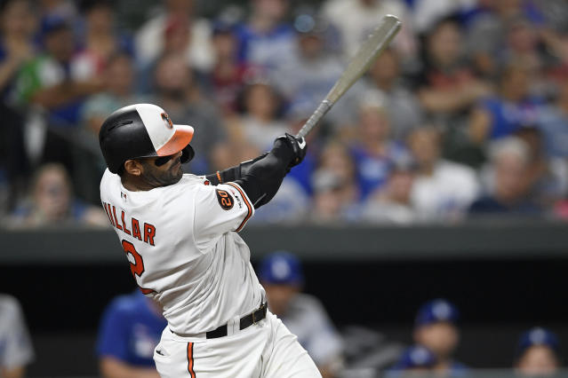 Baltimore Orioles' Jonathan Villar follows through on his his three-run home run during the seventh inning of the team's baseball game against the Los Angeles Dodgers, Wednesday, Sept. 11, 2019, in Baltimore. The Orioles won 7-3. (AP Photo/Nick Wass)