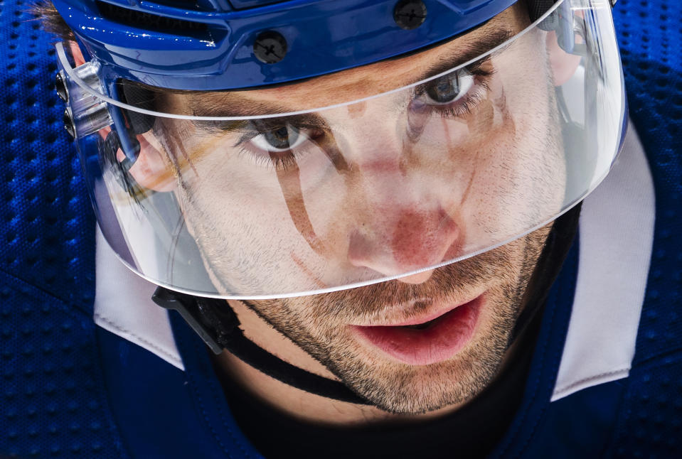 TORONTO, ON - JANUARY 18: John Tavares #91 of the Toronto Maple Leafs waits on a face off against the Winnipeg Jets during the third period at the Scotiabank Arena on January 18, 2021 in Toronto, Ontario, Canada. (Photo by Mark Blinch/NHLI via Getty Images)