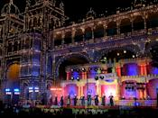 The streets near the Mysore Palace are decorated for the festival of Dussehra.