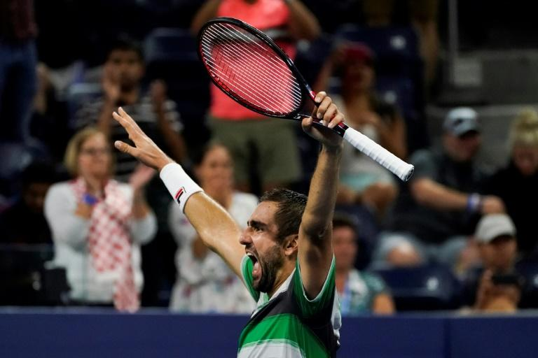 Late night, early morning special: Marin Cilic celebrates after defeating Alex de Minaur