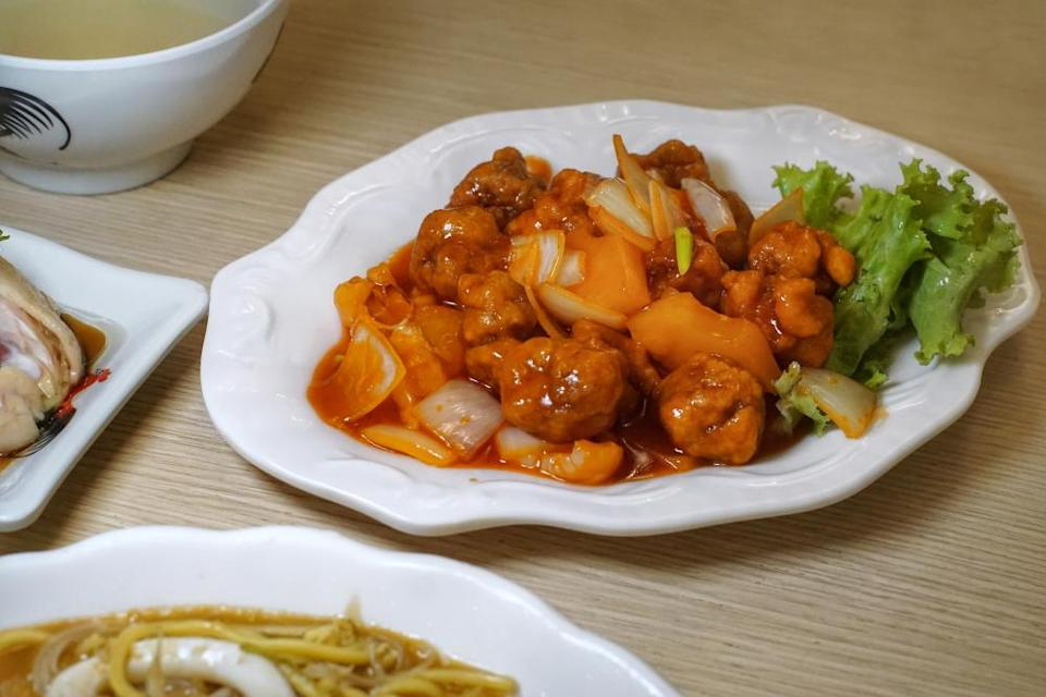 Plate of sweet & sour pork