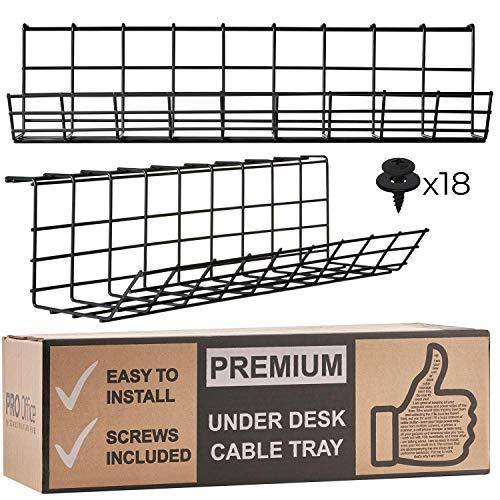 Under Desk Cable Management Tray - Cable Organizer for Wire Management. Metal Wire Cable Tray for Office and Home (Black - Set of 2X 17'') (Amazon / Amazon)