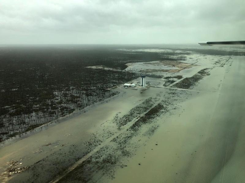 An aerial view shows the Marsh Harbour Airport after hurricane Dorian hit the Abaco Islands in the Bahamas, September 3, 2019, in this image obtained via social media. (Photo: Michelle Cove/Trans Island Airways/via Reuters)