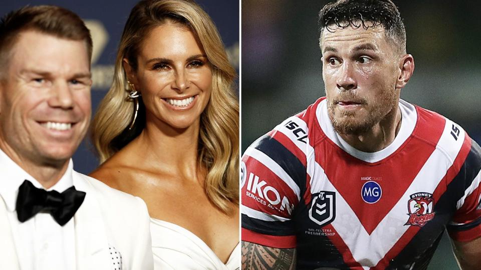 Candice Warner is seen alongside husband David, with Sonny Bill Williams on the right.