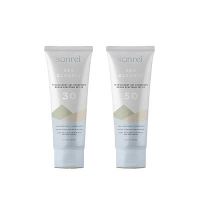 Sonrei Sea Clearly Translucent Gel Sunscreen SPF 30 and Sonrei Sea Clearly Translucent Gel Sunscreen SPF 50, both for $24.99. Rooted with Organoshield technology, the Sonrei Sea Clearly formulation creates a smooth film that dries quickly and bonds effectively to the skin, creating a safe, protecting layer that remains in place, no matter the activity.