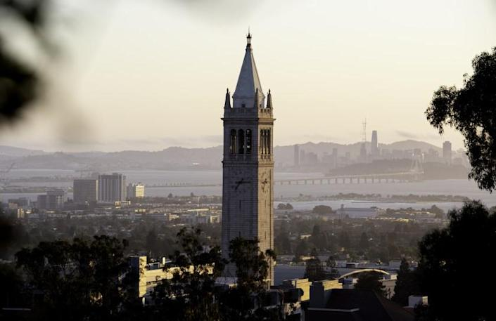 BERKELEY, CA - SEPTEMBER 09, 2019 - Sather Tower, also known as the Campanile, is seen against the backdrop of San Francisco from the UC Berkeley campus in Berkeley, California on Sept. 09, 2019. (Josh Edelson/For the Times)