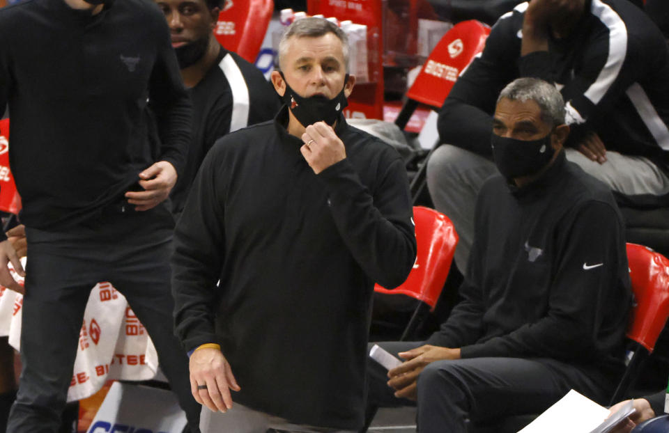 Chicago Bulls head coach Billy Donovan looks on as the Bulls play the Dallas Mavericks during the second half of an NBA basketball game, Sunday, Jan. 17, 2021, in Dallas. The Bulls won 117-101. (AP Photo/Ron Jenkins)