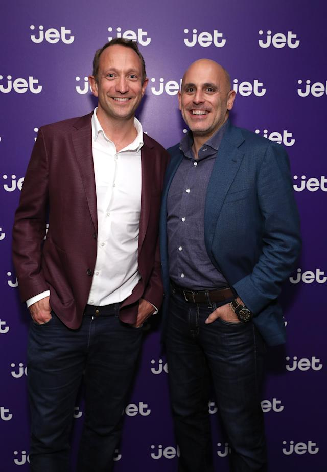 NEW YORK, NY - SEPTEMBER 13: Marc Lore, founder of Jet and president and CEO of Walmart U.S eCommerce and Simon Belsham, president of Jet, Celebrate The Relaunch of Jet at the brand's Townhouse experience in NYC on September 13, 2018 in New York City. (Photo by Cindy Ord/Getty Images for Jet.com)